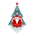 Three Santas and Christmas Tree vector image
