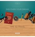 Travel and adventure template discover your dream vector image vector image