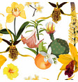 watercolor style exotic yellow flowers vector image