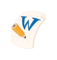 Word file icon in cartoon style vector image
