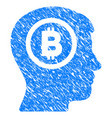 bitcoin thinking head grunge icon vector image