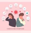 an ill man and woman showing coronavirus symptoms vector image vector image