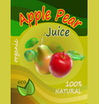 apple and pear juice template packaging design vec vector image vector image