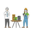 architect builder engineer character presenting vector image