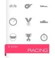 Black racing icons set