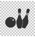 Bowling sign Dark gray icon on vector image vector image