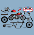 build your cafe racer concept with separated parts vector image vector image