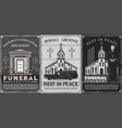 burial service crypt on cemetery church priest vector image vector image