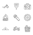 Campground icons set outline style vector image vector image