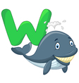 Cartoon whale with alphabet W vector image vector image