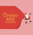 christmas sale with santa claus with huge bag vector image vector image