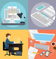 collection of flat and office work freelancer vector image vector image