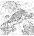 coloring pages bird wild flying animal in sitting vector image vector image