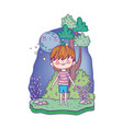 cute little boy with moon kawaii in the landscape vector image vector image