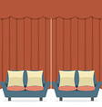 Empty Sofas In Front Of Curtain vector image vector image