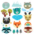 fantasy nature elements and animals heads vector image