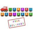 free delivery symbol - train with colorful car vector image vector image