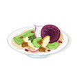 fresh tasty salad with vegetables and nuts on vector image