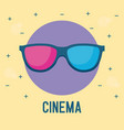 glasses 3d cinema movie film vector image
