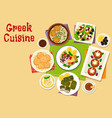 greek cuisine healthy dishes icon design vector image vector image