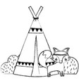 grunge fox animal with camp design and bushes vector image vector image