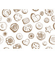hand drawn cookies pattern seamless design vector image vector image