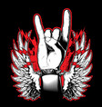 hand showing rock and roll sign vector image