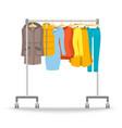 Hanger rack with warm women clothes winter set vector image vector image