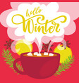 hello winter greeting card vector image
