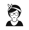 Hipster girl simple icon vector image vector image