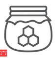 honey jar line icon rosh hashanah and hive vector image vector image