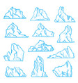 iceberg sketch set north climate and environment vector image
