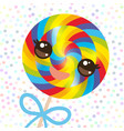 kawaii colorful candy lollipop with bow spiral vector image