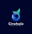 logo circle whale dual meaning style vector image