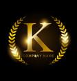 luxury golden letter k for premium brand identity vector image vector image