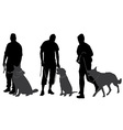 Man walking his dog silhouette vector image vector image