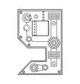 mechanical number 9 engraving vector image