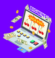 online casino jackpot win banknotes coins and vector image