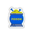paper sticker on background of potion cauldron vector image vector image
