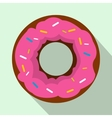 Pink glazed donut icon flat style vector image
