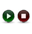 play and stop buttons green and red 3d icons with vector image