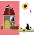 Postcard with decorative house and a cat vector image