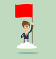 proud man raising a red flag on the cloud vector image vector image