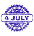 scratched 4 july stamp seal vector image