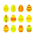 set bright colorful easter eggs isolated on vector image