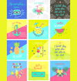 set summer color hand-lettering labels and vector image vector image