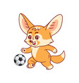 smiling fennec fox plays soccer amusing kawaii vector image vector image