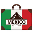 suitcase with the flag of mexico vector image vector image