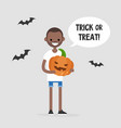 trick or treat halloween young black character vector image