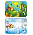 Winter and summer landscape vector image vector image